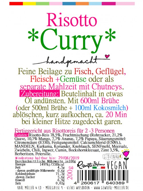 """Risotto - """"Curry"""" 200g"""