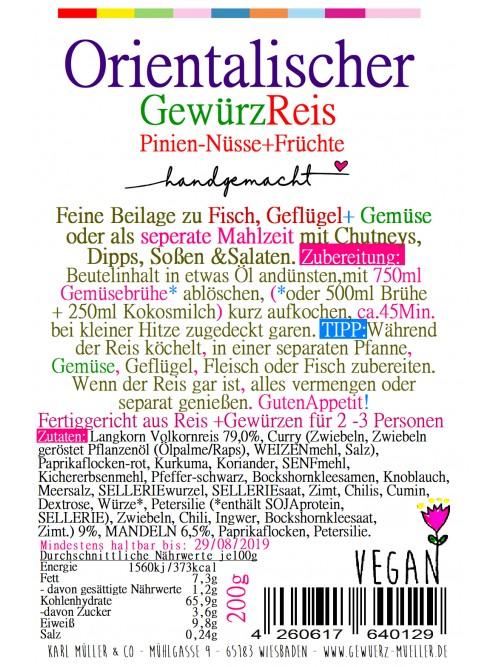 Orientalischer Gewürzreis + Zimt & Kardamomen 200g