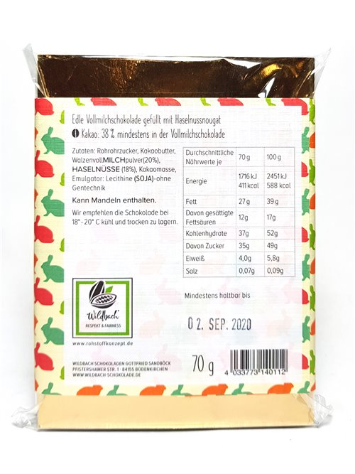 "Wildbach ""Frohe Ostern HASELNUSS 38%"" 70g"