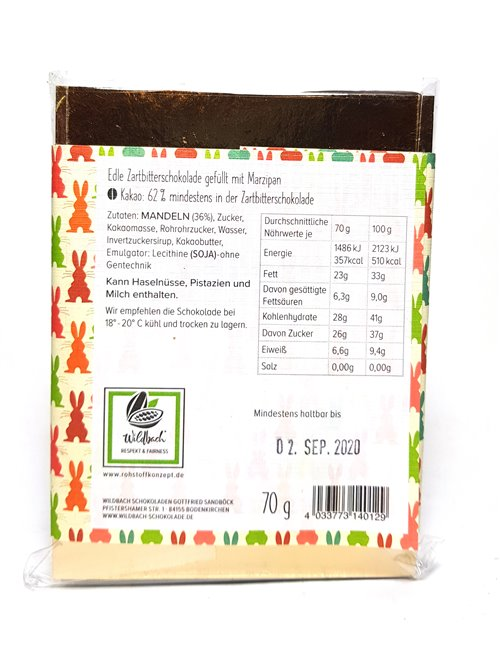 """Wildbach """"Frohe Ostern Marzipan 62%"""" 70g"""